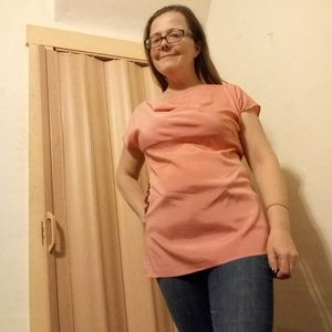 Ann Taylor peach colored silk top